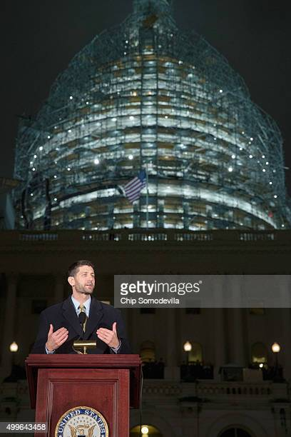 House Speaker Paul Ryan delivers remarks during the lighting ceremony of the Capitol Christmas tree on the west front of the US Capitol December 2...