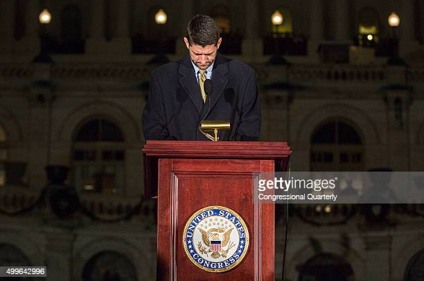 House Speaker Paul Ryan holds a moment of silence for the ongoing shooting situation in San Bernardino, Calif., during the annual U.S. Capitol...