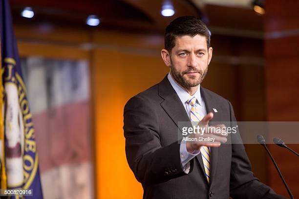 House Speaker Paul Ryan holds his weekly press briefing on Capitol Hill on December 10 2015 in Washington DC Paul Ryan spoke on topics including...