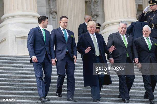 US House Speaker Paul Ryan Ireland Prime Minister Leo Varadkar US President Donald Trump Rep Peter King and US VP Mike Pence walk down the steps of...