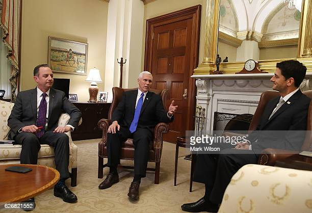 House Speaker Paul Ryan meets with Vice Presidentelect Mike Pence and White House Chief of Staffelect Reince Priebus at the US Capitol December 30...