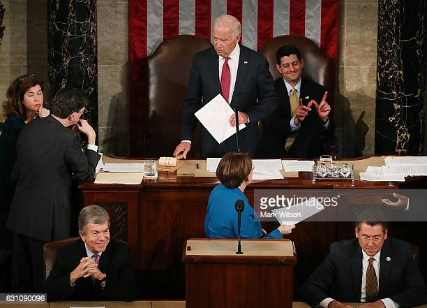 House Speaker Paul Ryan reacts as US Vice President Joseph Biden presides over the counting of the electoral votes from the 2016 presidential...