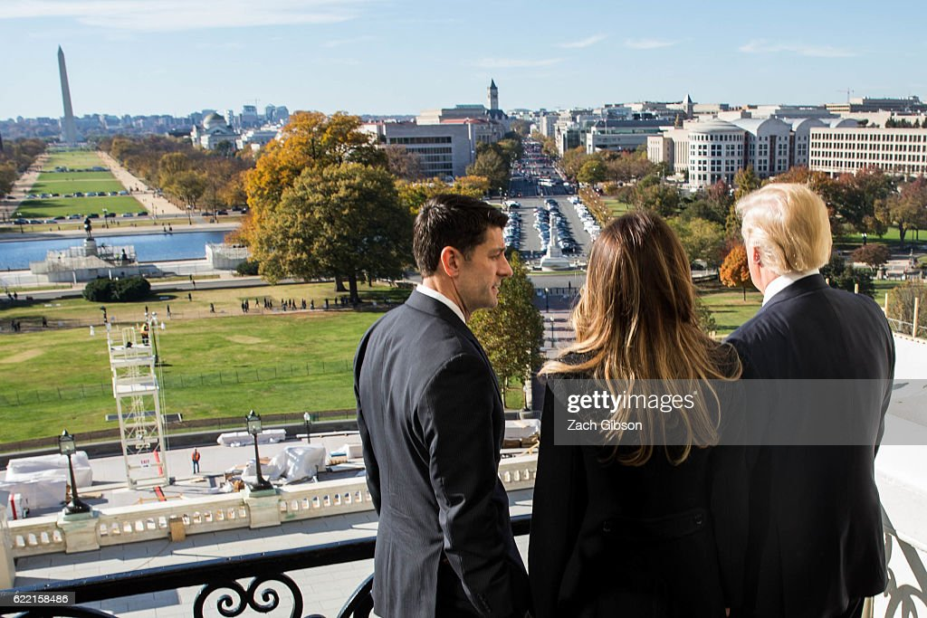 House Speaker Paul Ryan (R-WI) shows President-elect Donald Trump and his wife, Melania Trump the Speaker's Balcony at the U.S. Capitol on November 10, 2016 in Washington, DC. Earlier in the day president-elect Trump met with U.S. President Barack Obama at the White House.