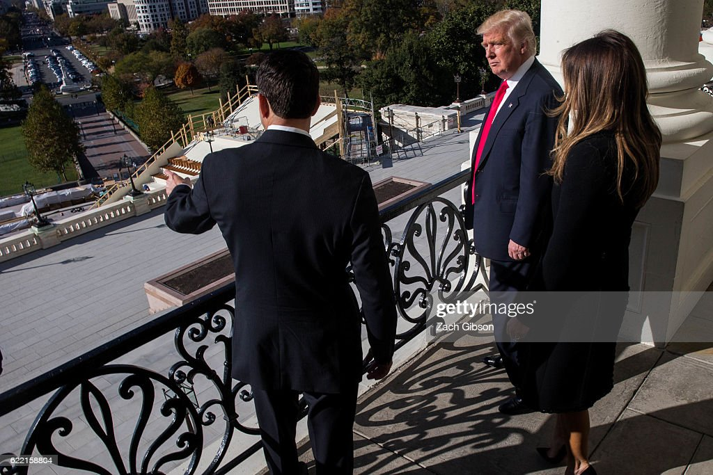 President-Elect Trump And Vice President-Elect Pence Meet With House Speaker Paul Ryan On Capitol Hill : News Photo
