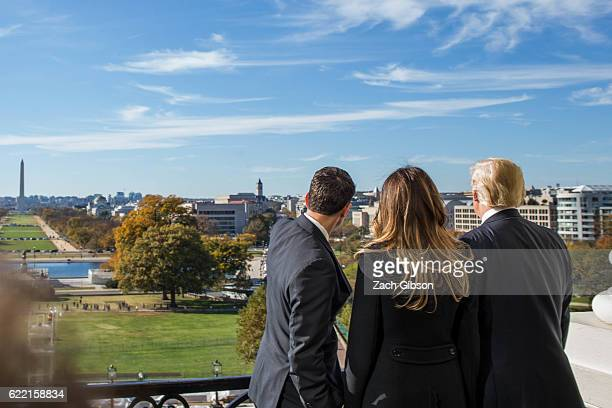 House Speaker Paul Ryan shows Presidentelect Donald Trump and his wife Melania Trump the Speaker's Balcony at the US Capitol on November 10 2016 in...