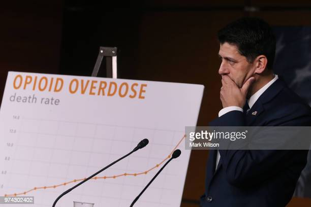 House Speaker Paul Ryan speaks about the opioid crisis during his weekly news conference on Capitol Hill June 14 2018 in Washington DC