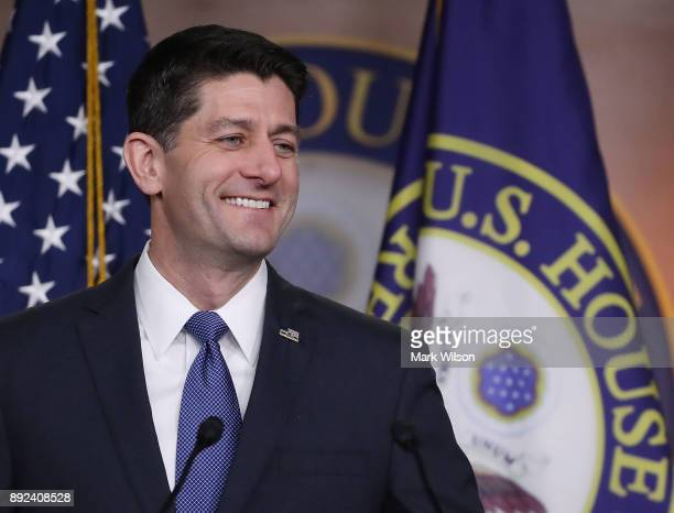 House Speaker Paul Ryan speaks about the Republican tax reform legislation currently before Congress during his weekly briefing on Capitol Hill...