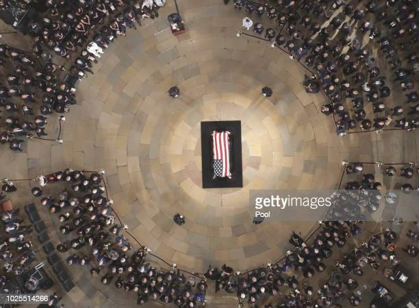 House Speaker Paul Ryan speaks as the late US Sen John McCain RAriz lies in state in the US Capitol Rotunda on August 31 in Washington DC The late...