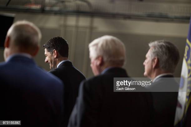 S House Speaker Paul Ryan speaks during a news conference following a Republican Conference meeting on Capitol Hill on June 13 2018 in Washington DC