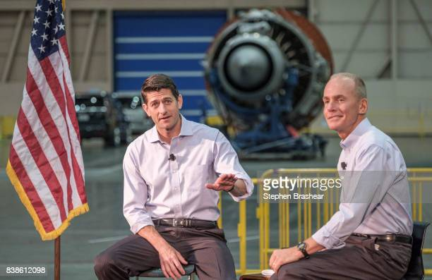 House Speaker Paul Ryan speaks during a town hall with Boeing Company CEO Dennis Muilenburg and Boeing employees at the company's plant on August 24...