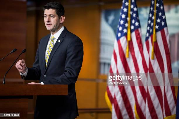 House Speaker Paul Ryan speaks during a weekly press conference on Capitol Hill on January 11 2018 in Washington DC Ryan defended the president after...