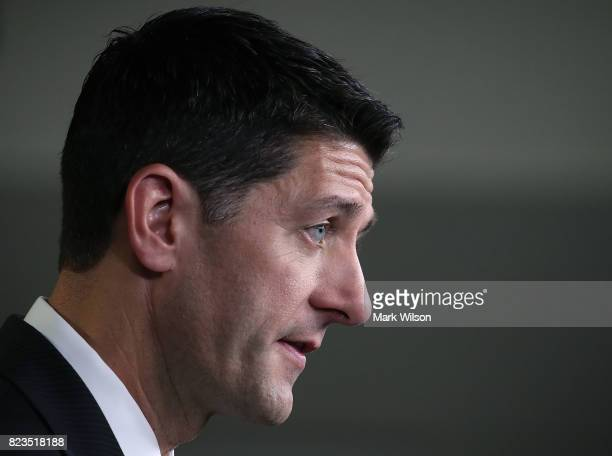 House Speaker Paul Ryan speaks to the media about issues before the House during his weekly media briefing on Capitol Hill July 27 2017 in Washington...