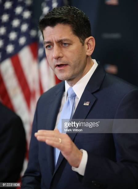 House Speaker Paul Ryan speaks to the media after a meeting with House GOP members on Capitol Hill January 30 2018 in Washington DC President Donald...