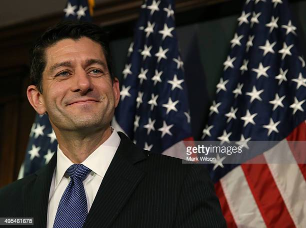 House Speaker Paul Ryan speaks to the media after a meeting with House Republicans on Capitol Hill November 3 2015 in Washington DC Ryan joined with...