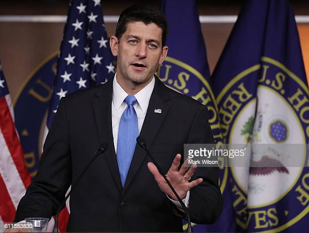 House Speaker Paul Ryan speaks to the media during his weekly media briefing on Capitol Hill September 29 2016 in Washington DC
