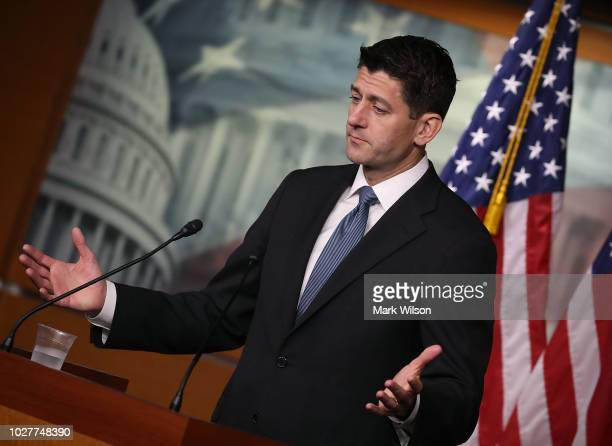 House Speaker Paul Ryan speaks to the media during his weekly news conference at the US Capitol on September 6 2018 in Washington DC