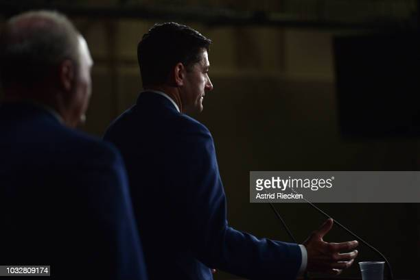 House Speaker Paul Ryan speaks to the media during his weekly news conference at the US Capitol on September 13 2018 in Washington DC