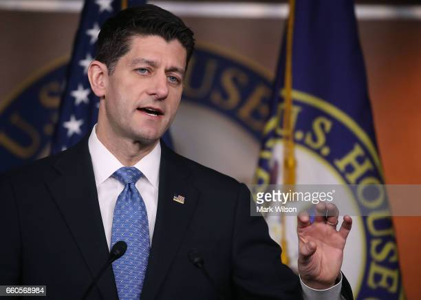 House Speaker Paul Ryan speaks to the media during his weekly news conference on Capitol Hill on March 30 2017 in Washington DC Speaker Ryan spoke on...