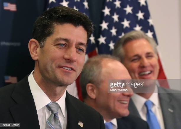 House Speaker Paul Ryan speaks while flanked by House Majority Whip Steve Scalise and House Majority Leader Kevin McCarthy during a news conference...