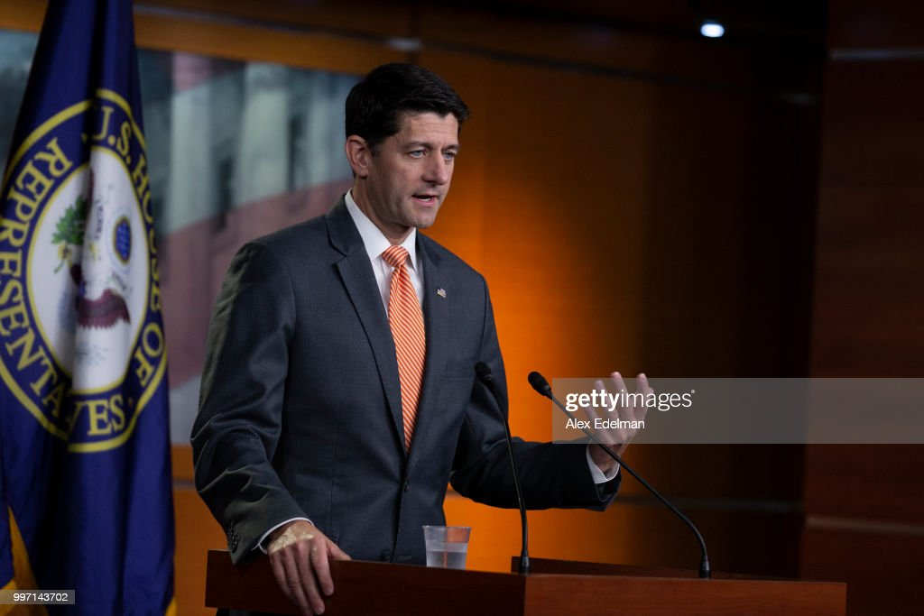 House Speaker Paul Ryan (R-WI) speaks with reporters during his weekly press conference at the Capitol on July 12, 2018 in Washington, DC.