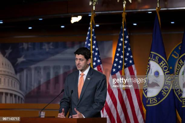House Speaker Paul Ryan speaks with reporters during his weekly press conference at the Capitol on July 12, 2018 in Washington, DC.