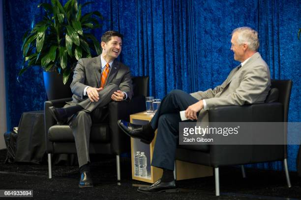 House Speaker Paul Ryan speaks with wispoliticscom President Jeff Mayers during a luncheon hosted by wispoliticscom at ATT Forum April 5 2017 on...