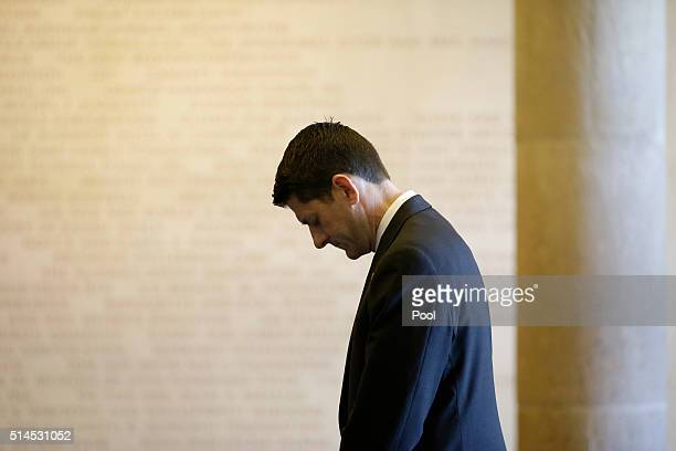 House Speaker Paul Ryan stands near the casket of Nancy Reagan at the Ronald Reagan Presidential Library on March 9 2016 in Simi Valley California...