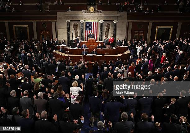 House Speaker Paul Ryan swears in new members of Congress in the House Chamber January 3 2017 in Washington DC Today the House of Representatives...