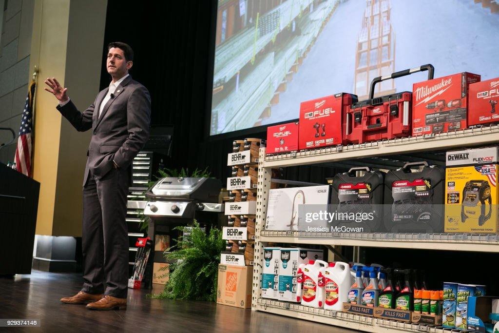 House Speaker Paul Ryan Visits Home Depot Store Support Center In Atlanta : News Photo