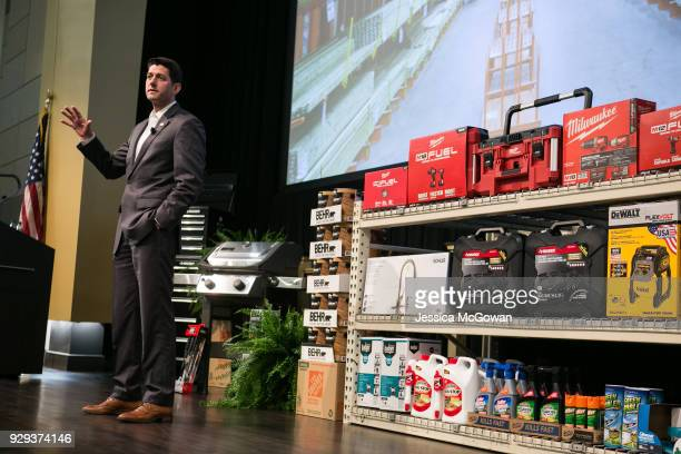 House Speaker Paul Ryan visits employees and hosts a QA at The Home Depot Store Support Center on March 8 2018 in Atlanta Georgia