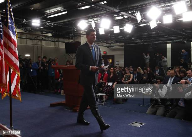 House Speaker Paul Ryan walks away after announcing that he will not seek reelection for another term in Congress during a news conference at the US...