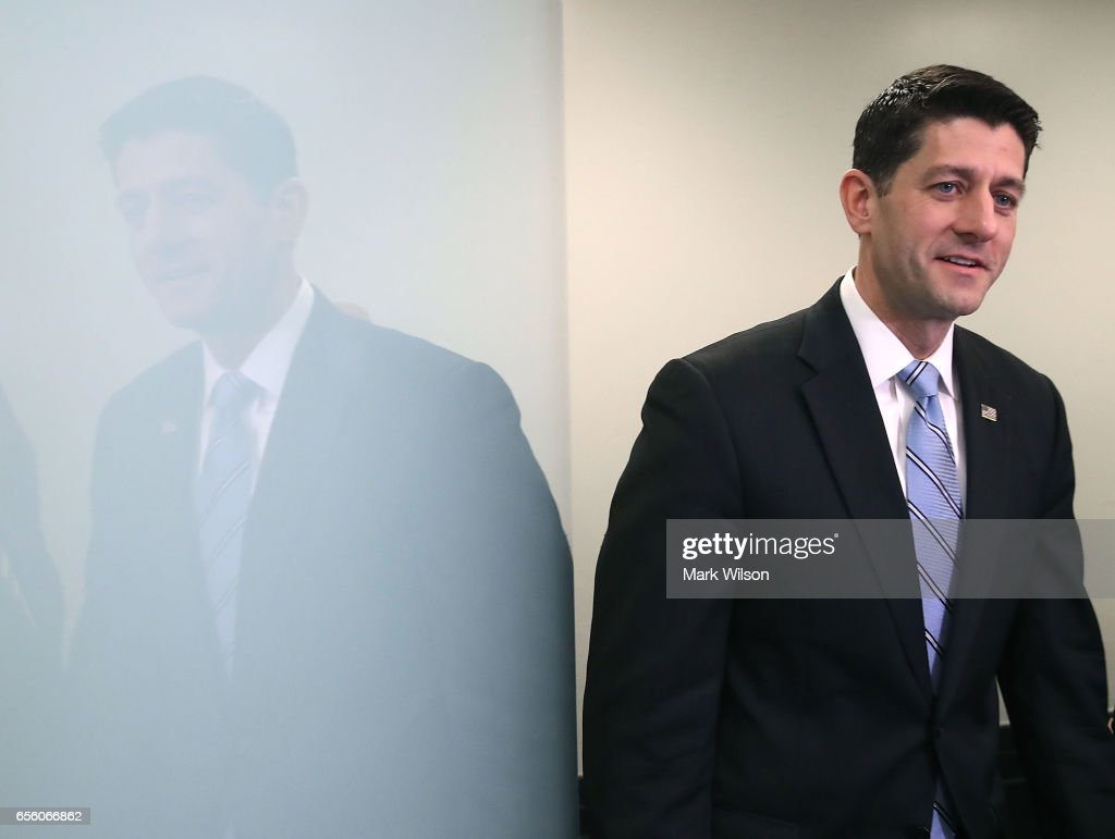 House Speaker Paul Ryan (R-WI) walks into a news conference after a House Republican closed party conference attended by U.S. President Donald Trump, on Capitol Hill, on March 21, 2017 in Washington, DC. President Trump urged House Republicans to support his American Health Care Act.