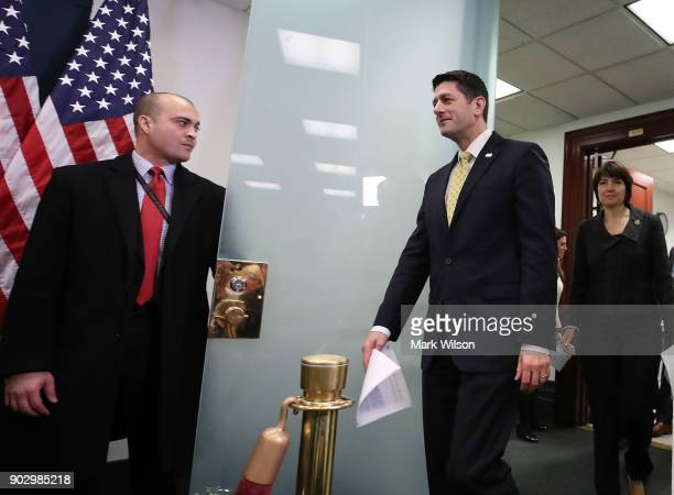 House Speaker Paul Ryan walks up to speak to the media about the GOP agenda after a meeting with House Republicans on Capitol Hill on January 9 2018...