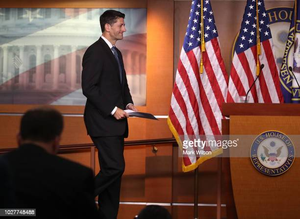 House Speaker Paul Ryan walks up to speak to the media during his weekly news conference at the US Capitol on September 6 2018 in Washington DC