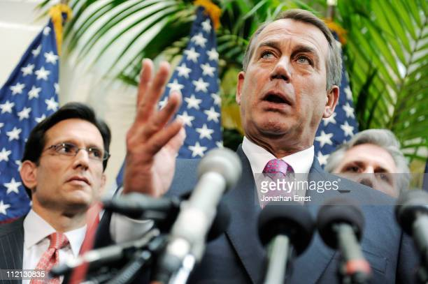 S House Speaker Rep John Boehner appears with fellow House Republican leaders Rep Eric Cantor and Rep Kevin McCarthy to address reporters at the US...