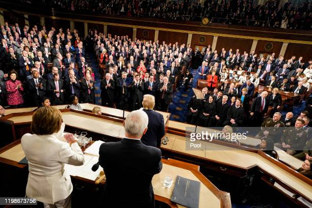 House Speaker Rep. Nancy Pelosi rips up pages of the State of the Union speech after U.S. President Donald Trump finishes speaking at the U.S....
