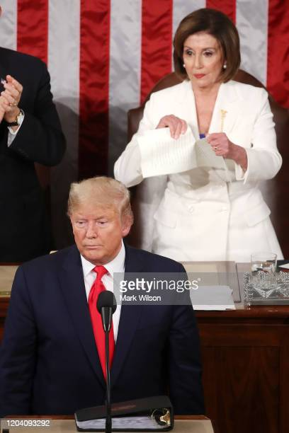 House Speaker Rep. Nancy Pelosi rips up pages of the State of the Union speech after U.S. President Donald Trump finishes his State of the Union...