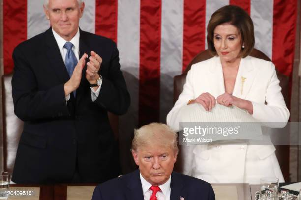 House Speaker Rep Nancy Pelosi rips up pages of the State of the Union speech after US President Donald Trump finishes his State of the Union address...