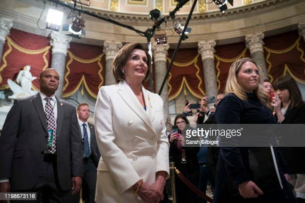 House Speaker Rep. Nancy Pelosi walks through Statuary Hall to the House Chamber for the State of the Union on February 4, 2020 in Washington, DC....