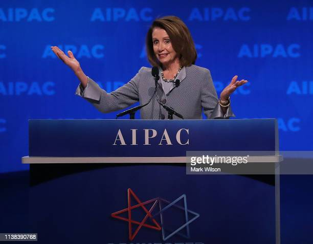 House SpeakerNancy Pelosi speaks at the annual American Israel Public Affairs Committee conference on March 26 2019 in Washington DC