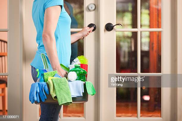house spring cleaning maid housework service, cleaner entering home door - commercial cleaning stock photos and pictures