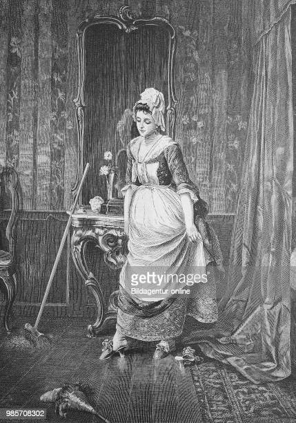 House staff tried secretly on the slippers of her mistress Reproduction of an original woodcut from the year 1882 digital improved