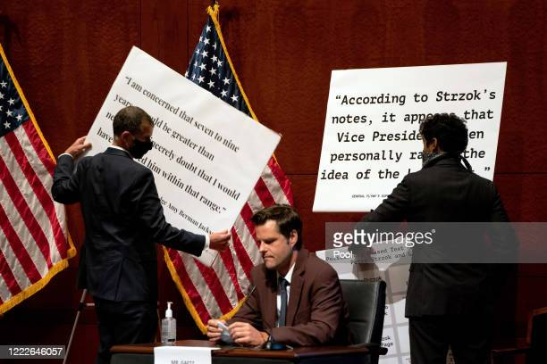 S House staffers switch the display signs behind Rep Matt Gaetz at a hearing of the House Judiciary Committee on at the Capitol Building June 24 2020...