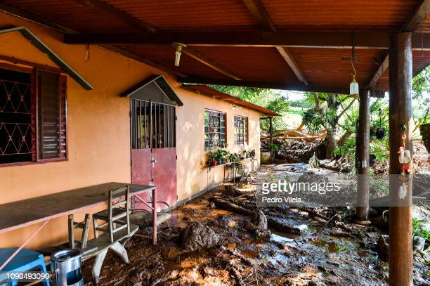 House struck by the mud in Córrego do Feijão near the town of Brumadinho in the state of Minas Gerias in southeastern Brazil on January 27 the day...