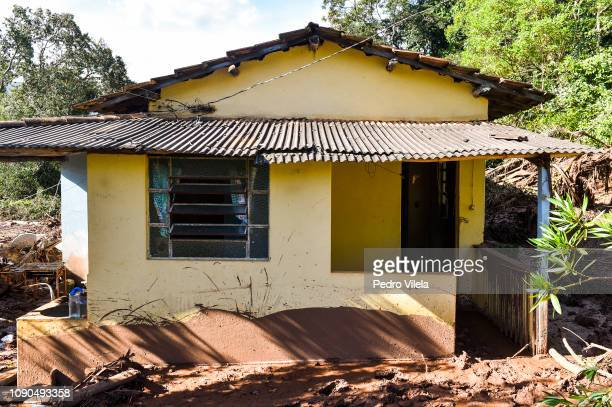 House struck by the mud in Córrego do Feijão near the town of Brumadinho, in the state of Minas Gerias, in southeastern Brazil, on January 27 the day...
