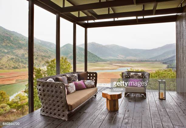 House terrace in the vineyards in Chile