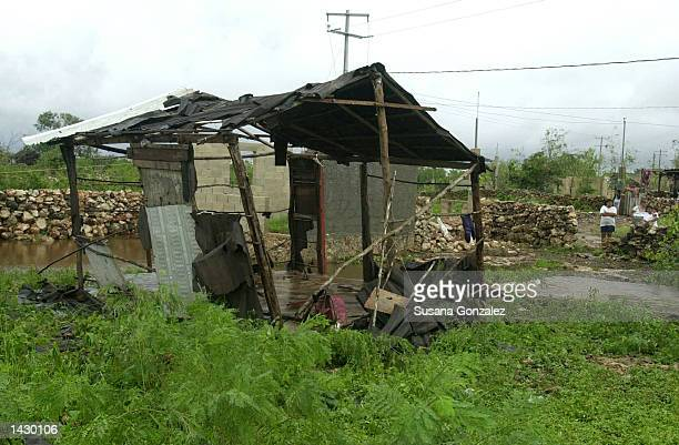 A house that was complete destroyed by Hurrican Isidore stands in Emiliano Zapata village September 24 2002 in Merida The Yucatan state Mexico The...