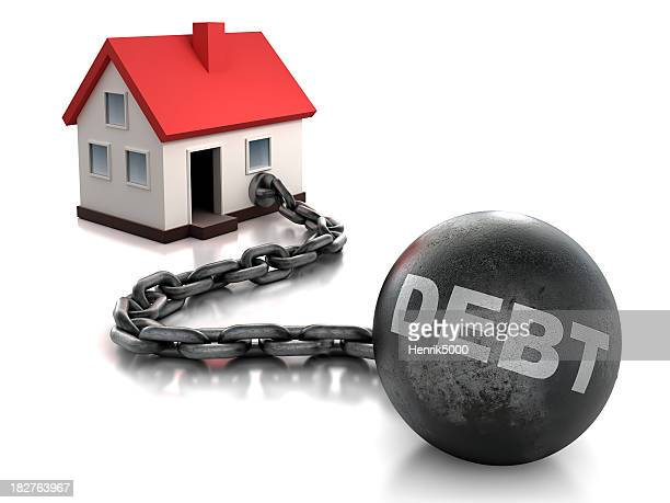 House tied to ball and chain of debt - isolated