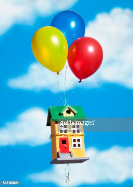 House Tied to Balloons Floats in The Sky
