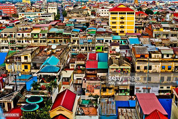house tops - phnom penh stock pictures, royalty-free photos & images